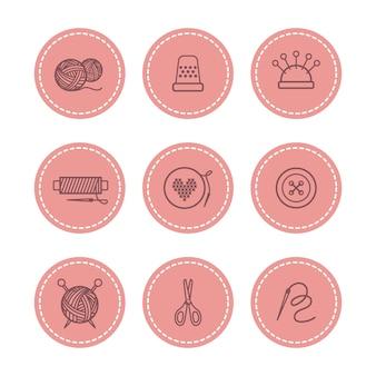 Handgemachte und nähende abzeichen eingestellt
