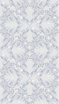 Handgemachter verzierungsdekor des damastes der vertikalen musterillustration. funkelnde barocke hintergrundbeschaffenheiten