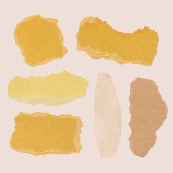 Handgemachter zerrissener papierhandwerksvektor im gelben minimalen stilsatz