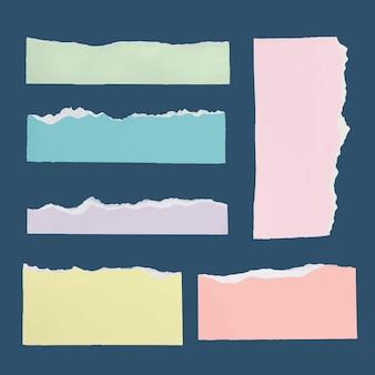 Handgemachter zerrissener papierhandwerksvektor in den pastellfarben eingestellt