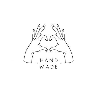 Handgemachtes etikett und abzeichen im linearen trendstil - handgemacht. handgemachtes logo oder symbol.