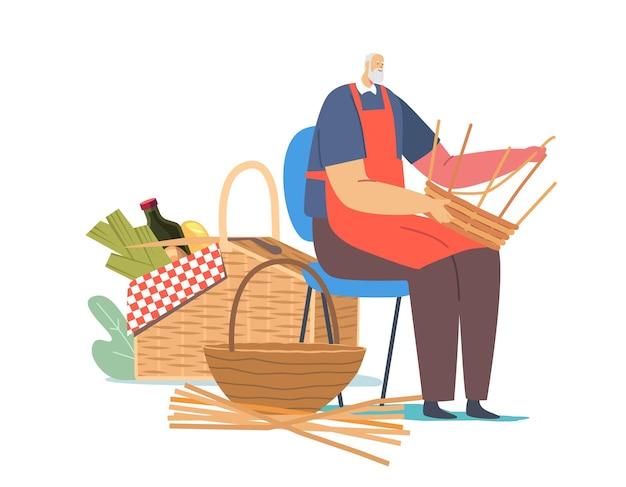 Handgemachtes hobby, geschäft. webenkorb für ältere männliche charaktere