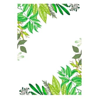 Handgemalt mit markierungsblumenrahmen mit zweig-, niederlassungs- und grünzusammenfassungsblättern