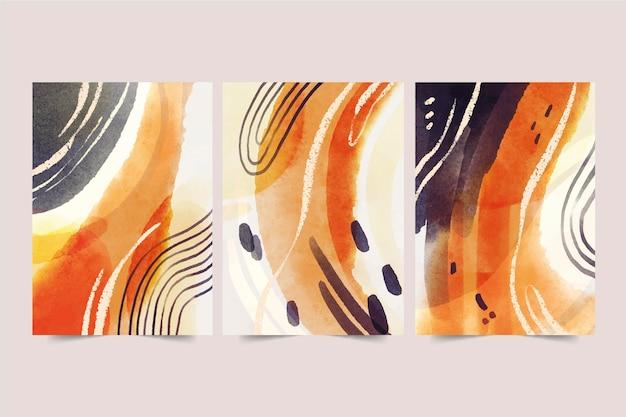Handgemalte abstrakte kunstabdeckungspackung des aquarells