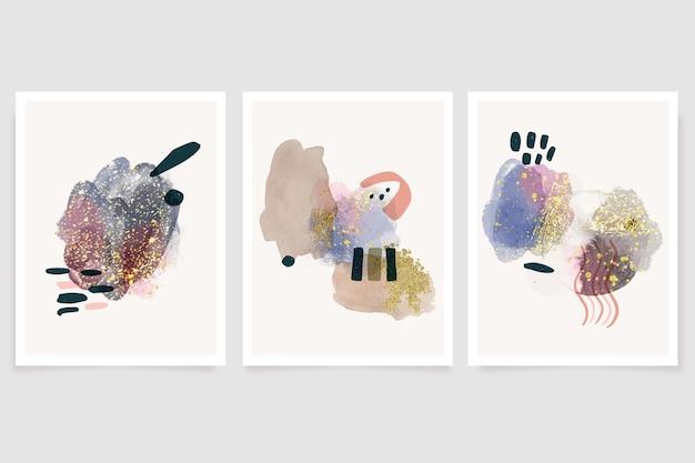Handgemalte aquarell abstrakte kunst deckt sammlung covers