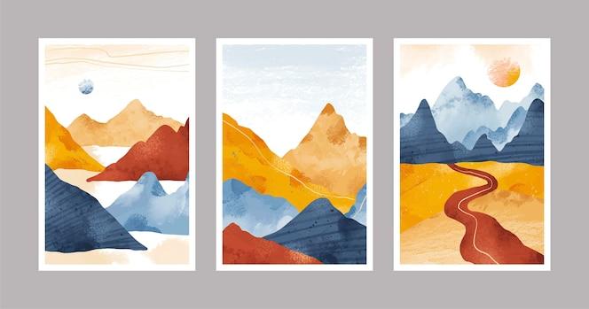 Handgemalte aquarell abstrakte landschaftsabdeckungen