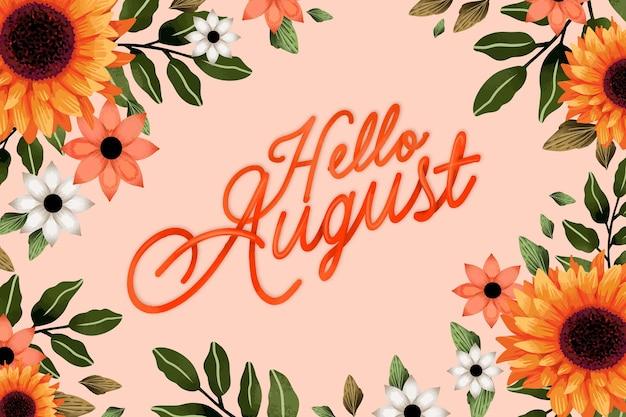 Handgemalte aquarell august schriftzug mit früchten