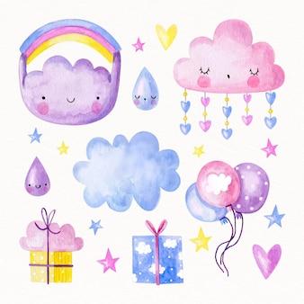Handgemalte aquarell chuva de amor dekorationselement sammlung