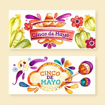 Handgemalte aquarell cinco de mayo banner gesetzt