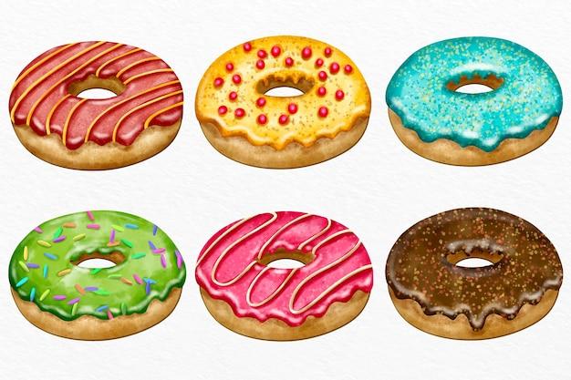 Handgemalte aquarell donut-kollektion