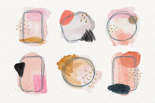 Handgemalte aquarell-doodle-rahmen-kollektion