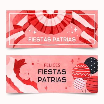 Handgemalte aquarell fiestas patrias de peru banner gesetzt