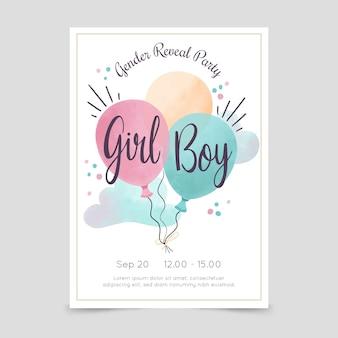 Handgemalte aquarell-gender-enthüllungs-einladung