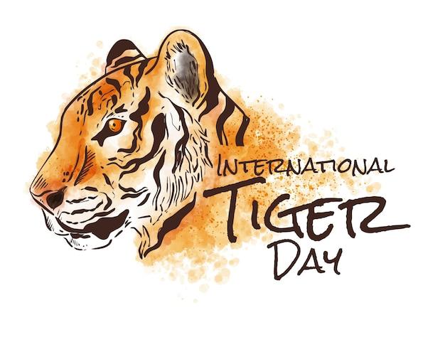 Handgemalte aquarell-globale tiger-tagesillustration
