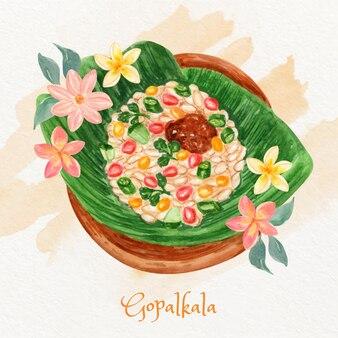 Handgemalte aquarell gopalkala illustration