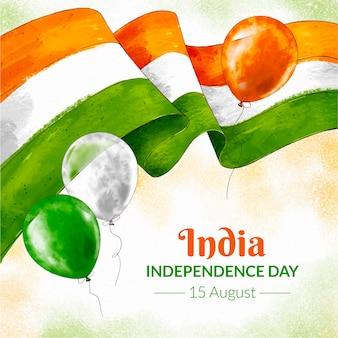 Handgemalte aquarell indien unabhängigkeitstag illustration