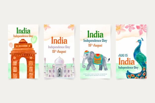 Handgemalte aquarell indien unabhängigkeitstag instagram geschichten sammlung