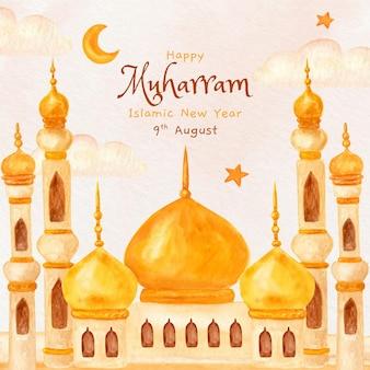 Handgemalte aquarell islamische neujahrsillustration