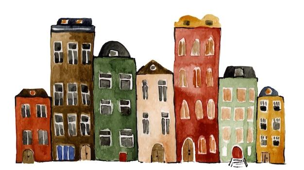 Handgemalte aquarell mehrfarbige häuser