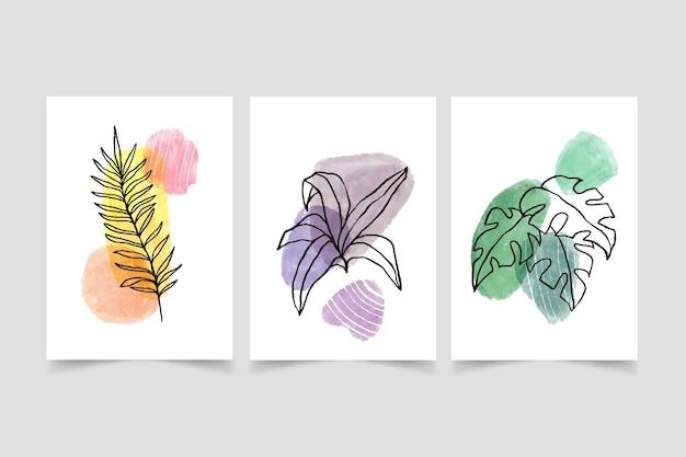 Handgemalte aquarell minimale handgezeichnete cover-kollektion