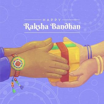 Handgemalte aquarell raksha bandhan illustrationhan