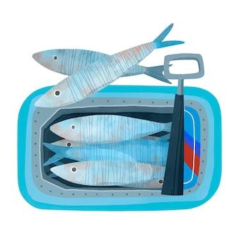 Handgemalte aquarell-sardinen-illustration