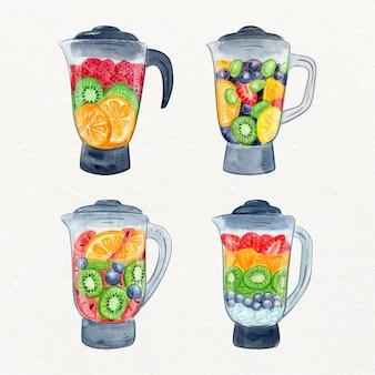 Handgemalte aquarell-smoothies in der mixerglasillustration