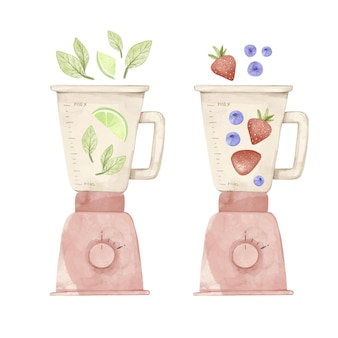 Handgemalte aquarell-smoothies