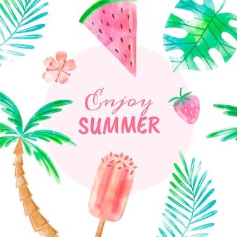 Handgemalte aquarell sommer backgroundenj