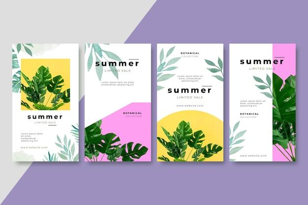 Handgemalte aquarell-sommer-instagram-geschichten-sammlung mit foto