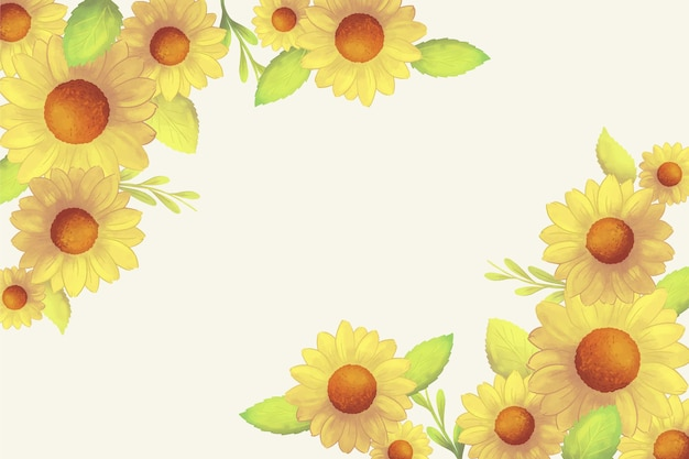 Handgemalte aquarell sonnenblumen grenze
