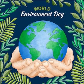 Handgemalte aquarell-weltumwelttag retten die planetenillustration