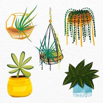 Handgemalte aquarell-zimmerpflanzensammlung
