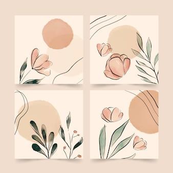 Handgemalte aquarellblumenkartensammlung