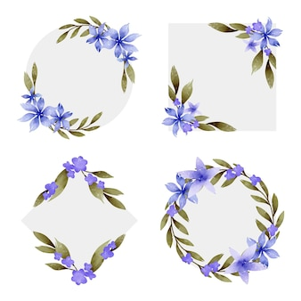 Handgemalte aquarellblumenrahmenkollektion Kostenlosen Vektoren