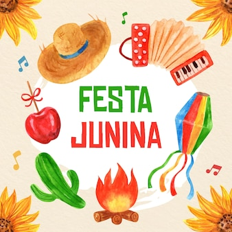 Handgemalte aquarellfesta junina illustration