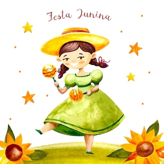 Handgemalte aquarellfesta junina illustration