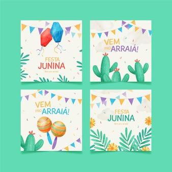 Handgemalte aquarellfesta junina kartensammlung