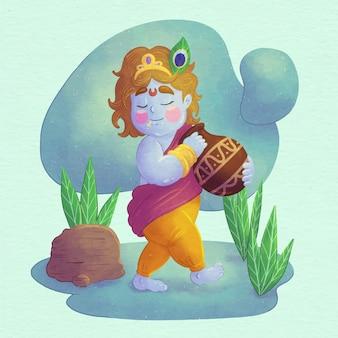 Handgemalte aquarellillustration des babys krishna, das butter isst