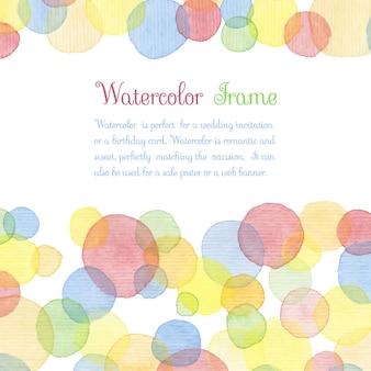 Handgemalte aquarellkreise mit text. nette dekorative vorlage. helle bunte bordüren. ideal für babypartyeinladung, geburtstagskarte, scrapbooking usw. vektor-illustration.