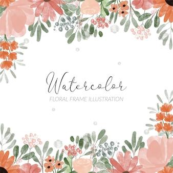 Handgemalte aquarellpfingstrosenblütenrand für dekorationselement