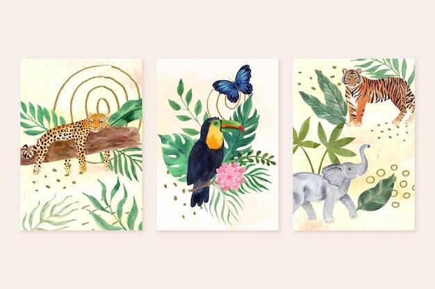 Handgemalte aquarellwildtiere decken sammlung ab