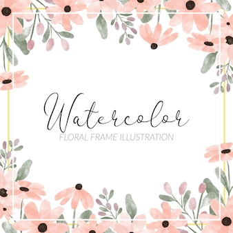 Handgemalte blütenblatt blumenrahmen niedlichen aquarell-stil