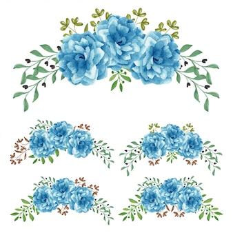 Handgemalte blumenanordnung des blaurosen-aquarells