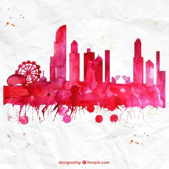 Handgemalte chicago skyline