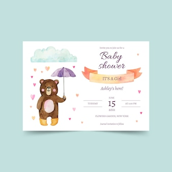 Handgemalte chuva de amor babypartyeinladungskarte