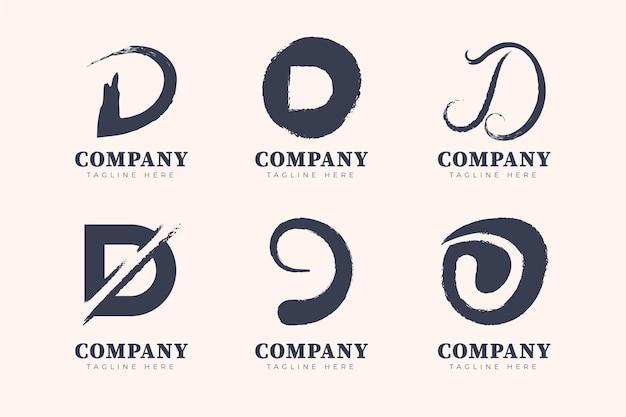 Handgemalte d logo-schablonensammlung