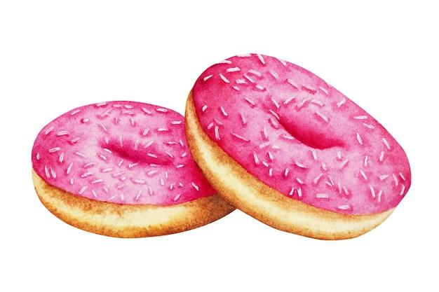 Handgemalte donuts aquarellillustration