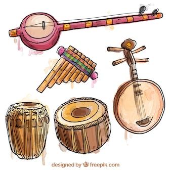 Handgemalte exotischen instrumenten