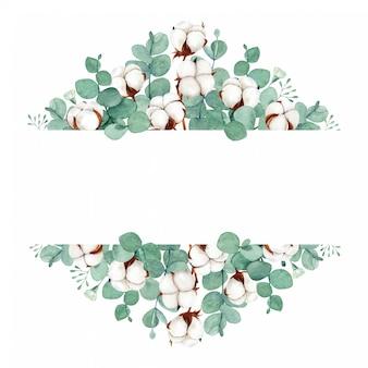 Handgemalte grüne blumenrahmenfahne des aquarells mit eukalyptus- und baumwollblumen